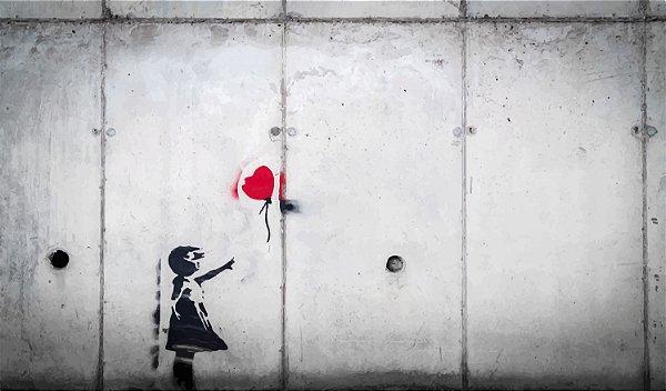 Placa Decorativa - Girl with Balloon - 42X30cm