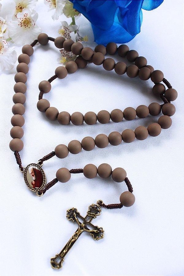Terço São Padre Pio - Emborrachado Marrom
