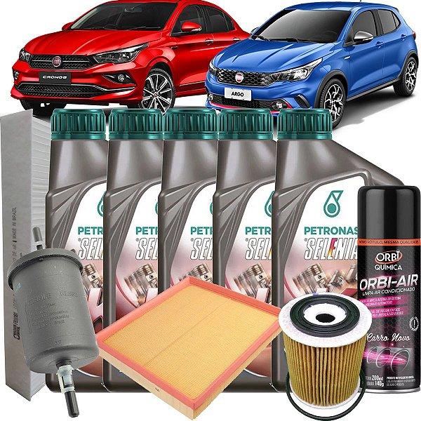 Kit Revisao Troca De Oleo Selenia K Pure Energy 5W30 Fiat Argo Cronos 1.8 Etorq Hgt Precision 2017 2018 2019 2020 2021