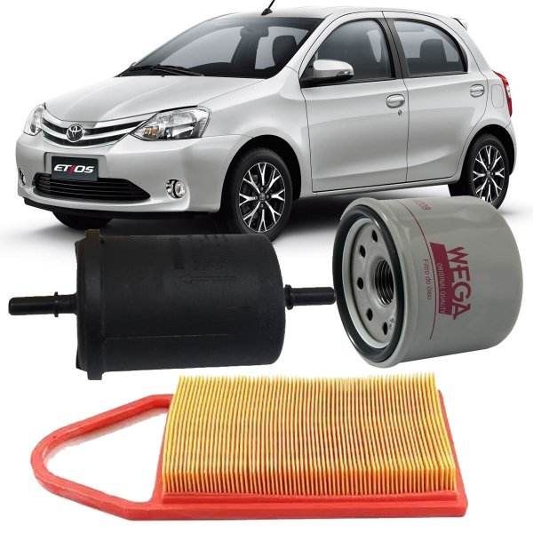 Kit Filtros De Ar Oleo Combustivel Toyota Etios 1.3 1.5 16v Hatch E Sedan 2012 2013 2014 2015