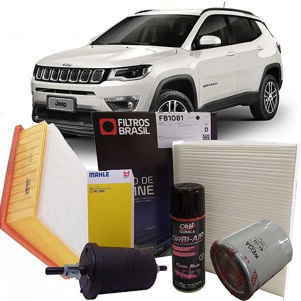 Kit Filtros De Oleo Combustível Ar Cabine Higienizador Jeep Compass 2.0 Flex 2017 2018 2019 2020 2021