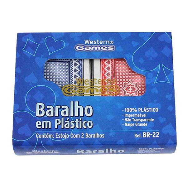 Jogo com 2 baralhos completos em plástico PVC azul e vermelho naipe grande - Western BR-22