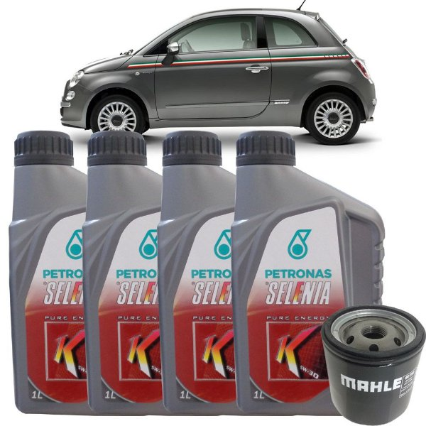Kit troca de óleo Selenia K 5W30 e filtro - Fiat 500 Cinquecento 1.4 16V 2009 2010 2011 2012