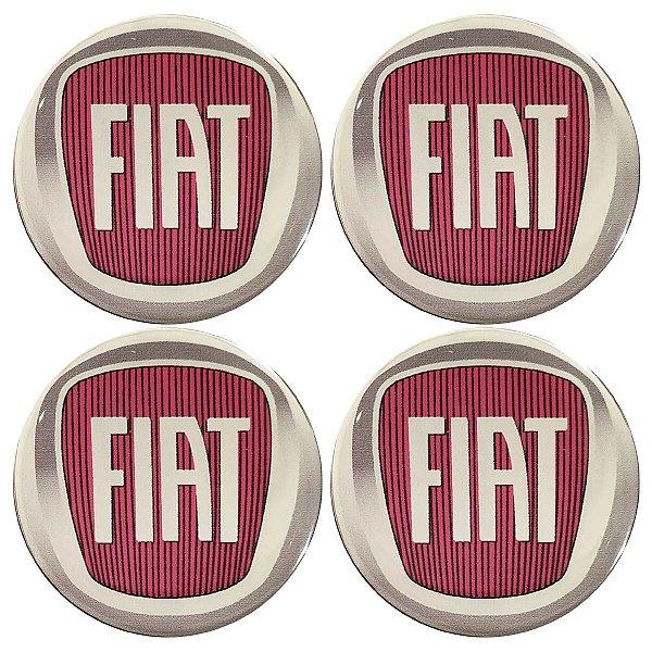 Cartela com 4 emblemas resinados 48mm para calota de roda - Fiat