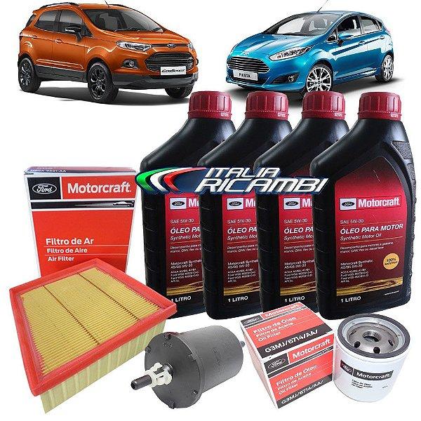 Kit troca de óleo Motorcraft 5W30 e filtros originais Ford - New Fiesta 1.5 16V 1.6V e Ecosport 1.6 16V