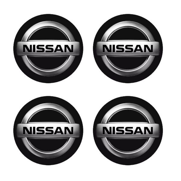 Cartela com 4 emblemas resinados 48mm para calota de roda - Nissan