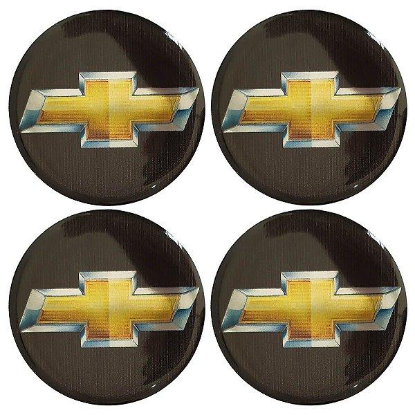 Cartela com 4 emblemas resinados 48mm para calota de roda - GM