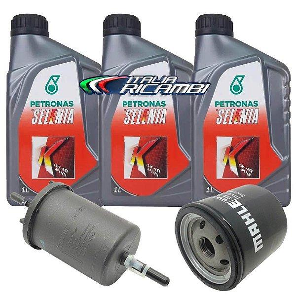 Kit troca de óleo Selenia K 15W40 e filtros de óleo e combustível - Fiat Grand Siena Uno Palio Fiorino e Punto 1.4 Evo