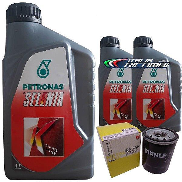 Kit troca de óleo Selenia K 15W40 e filtro de óleo - Fiat Grand Siena Novo Uno Palio Fiorino e Punto 1.4 Evo