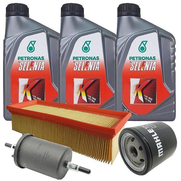 Kit troca de óleo Selenia K 15W40 e filtros de óleo ar e combustível - Fiat Grand Siena Uno Palio Fiorino Punto 1.4 Evo
