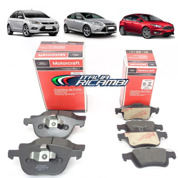 Kit pastilhas de freio dianteiras e traseiras Motorcraft - Ford Focus 1.6 16V e 2.0 16V de 2009 em diante