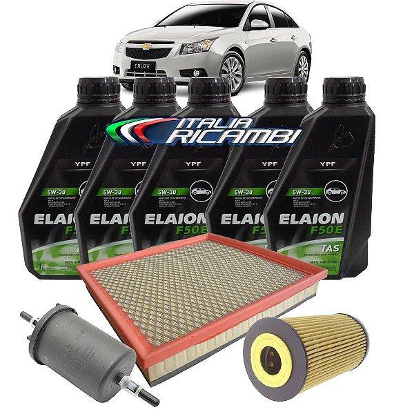 Kit troca de óleo 5W30 e filtros ar, óleo e combustível - GM Cruze 1.8 16V de 2011 até 2016