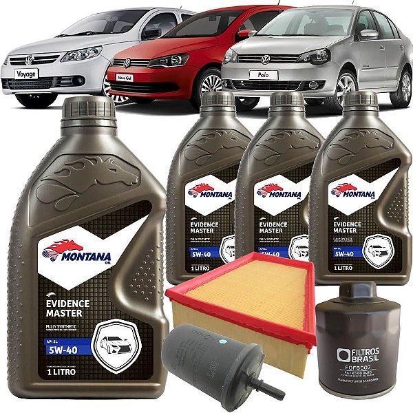 Kit troca de óleo 5W40 e filtros ar, óleo e combustível - VW Gol G5 G6, Voyage, Polo e Saveiro 1.6 8V Flex