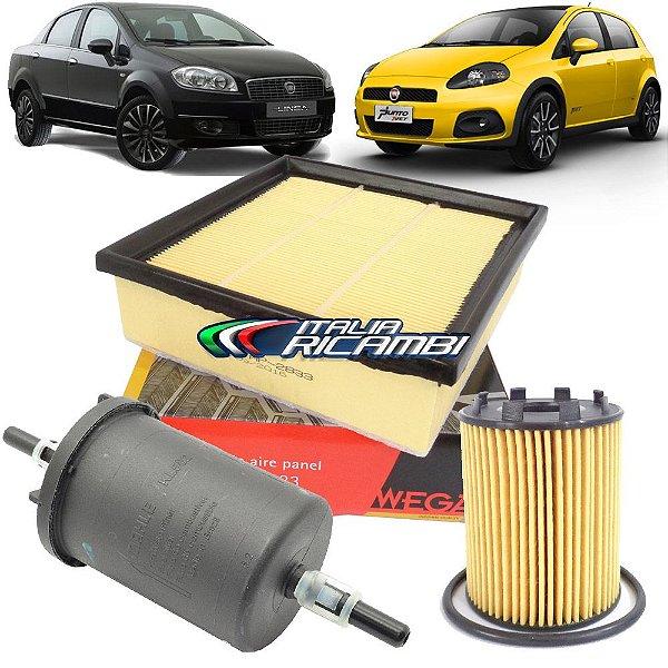 Kit filtros de ar, óleo e combustível - Fiat Punto 1.4 T-Jet Turbo e Linea 1.4 T-Jet Turbo