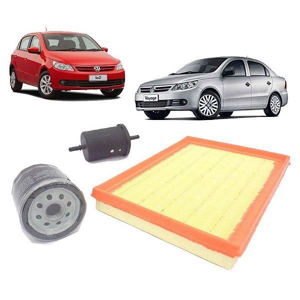 Kit filtros de óleo, ar e combustível - VW Gol G5 G6 e Voyage 1.0 Flex de 2008 em diante