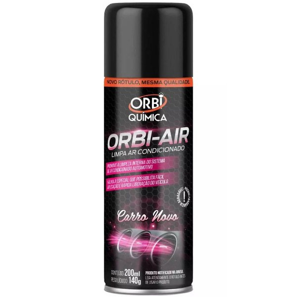 Limpa Ar Condicionado Spray Higienizador Orbi Fragrância Carro Novo 200ml Com Válvula Tipo Granada