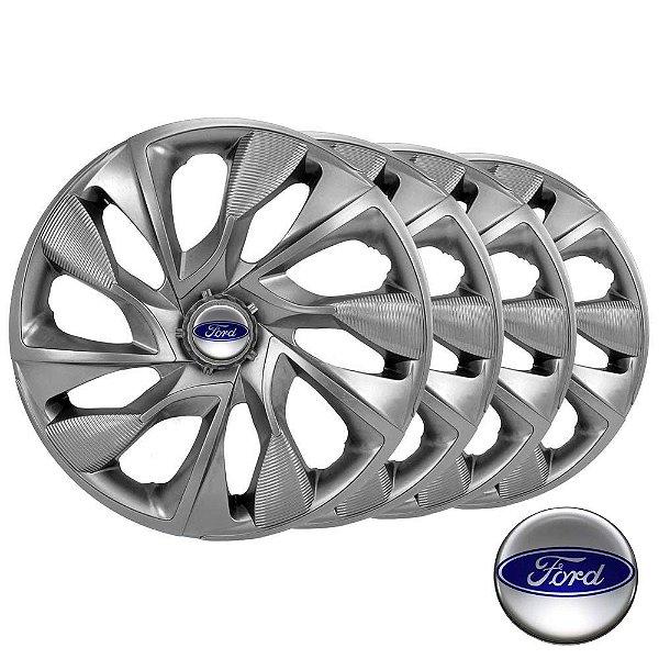 Jogo calotas esportivas Elitte DS4 Graphite aro 14 emblema Ford - Fiesta Ka Escort Focus - LC331