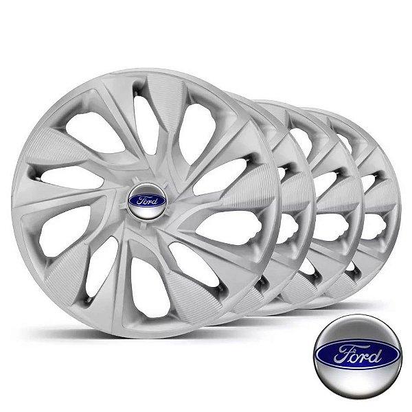 Jogo calotas esportivas Elitte DS4 Silver aro 13 emblema Ford - Escort Fiesta Ka Focus Courier - LC300