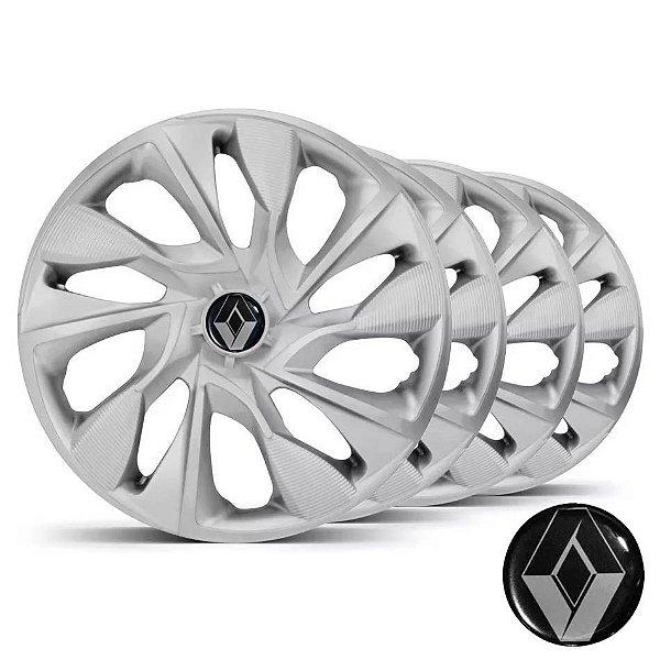 Jogo calotas esportivas Elitte DS4 Silver aro 14 emblema Renault - Clio Logan Sandero Symbol - LC330
