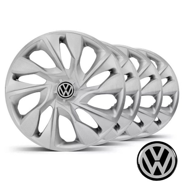 Jogo calotas esportivas Elitte DS4 Silver aro 14 emblema VW - Fox Gol Golf Polo Saveiro Voyage - LC330