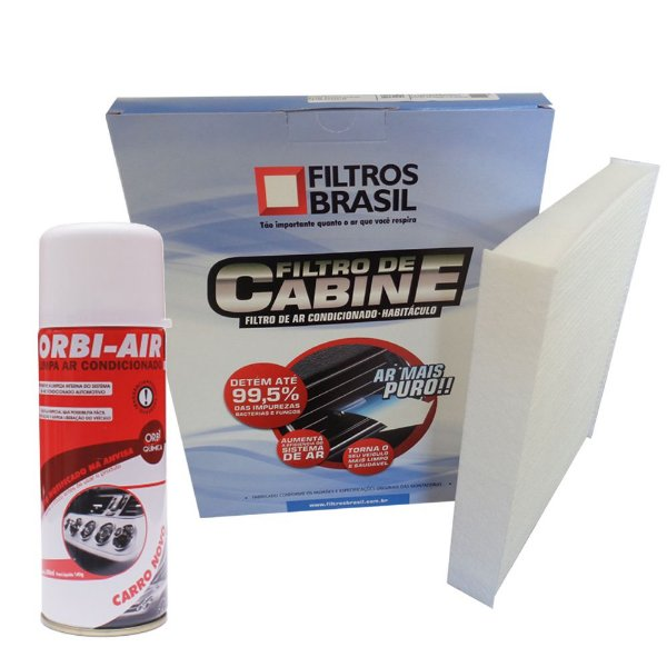Kit filtro de cabine e higienizador de ar condicionado - Renault Duster 2012 em diante e Sandero Logan até 2014