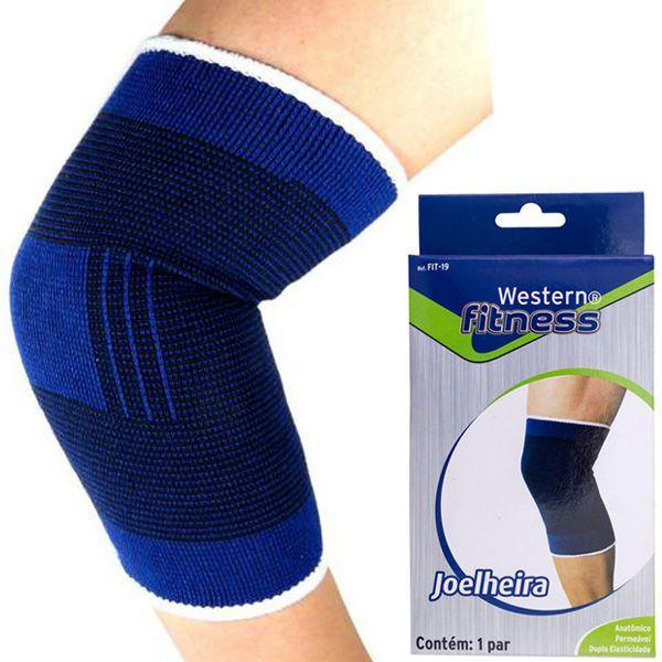 Par de joelheira elástica protetor da articulação de joelhos e apoio muscular exercícios Western FIT-19