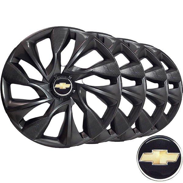 Jogo calotas esportivas Elitte DS4 Graphite aro 13 emblema GM - Chevrolet Corsa Celta Prisma Classic - LC301