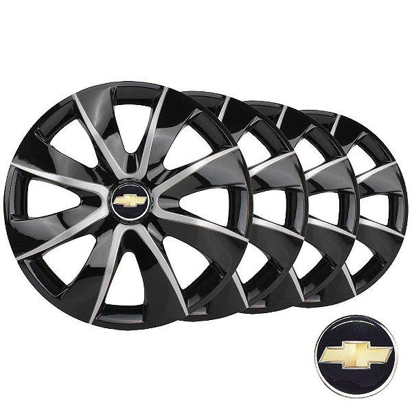 Jogo calotas esportivas Elitte Prime Black Silver aro 13 emblema GM - Corsa Celta Prisma Classic - 1012