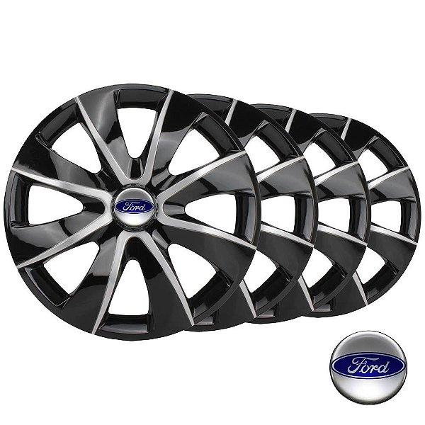Jogo calotas esportivas Elitte Prime Black Silver aro 13 emblema Ford - Escort Fiesta Ka Focus - 1012