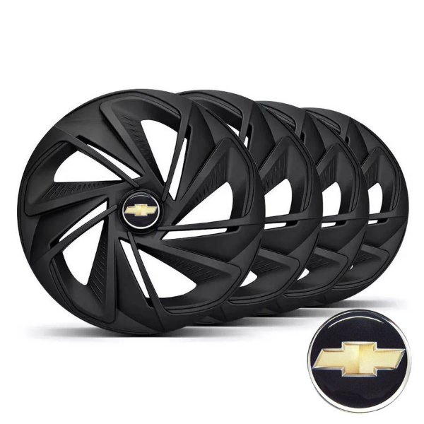 Jogo calotas esportivas Elitte Nitro Fosc Black aro 14 emblema GM - Onix Corsa Celta Classic Prisma - LC218
