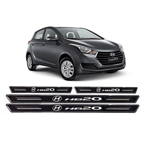 Jogo de soleiras preto com prata platinado Hyundai Hb20 de 2012 em diante - SOL003
