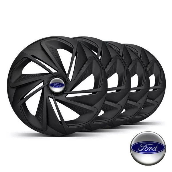 Jogo calotas esportivas Elitte Nitro Fosc Black aro 13 emblema Ford - Ka Fiesta Focus Escort - LC213