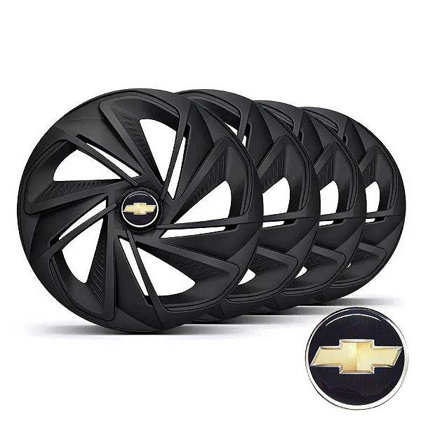 Jogo calotas esportivas Elitte Nitro Fosc Black aro 13 emblema Chevrolet - Corsa Classic Celta Pisma - LC213