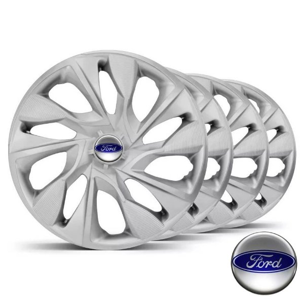 Jogo calotas esportivas Elitte DS4 Silver aro 15 emblema Ford - New Fiesta Ecosport Ka Focus - LC360
