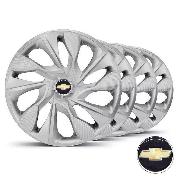 Jogo calotas esportivas Elitte DS4 Silver aro 15 emblema GM - Agile Spin Cobalt Onix Prisma - LC360