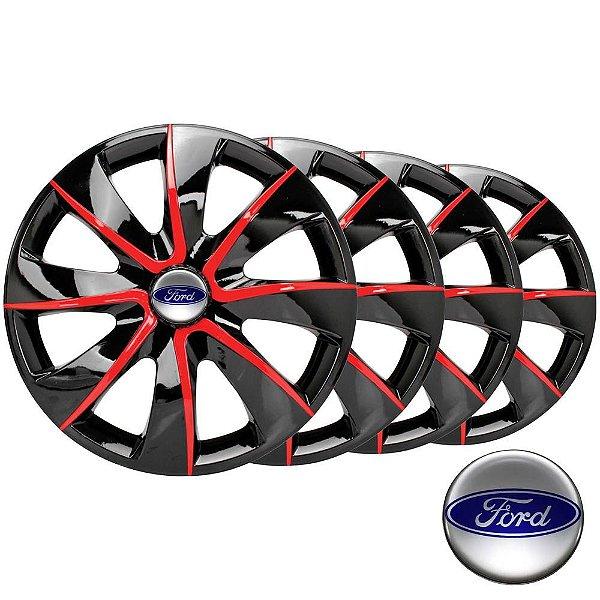 Jogo calotas esportivas Elitte Prime Black Red aro 13 emblema Ford - Escort Fiesta Ka Focus - 1005