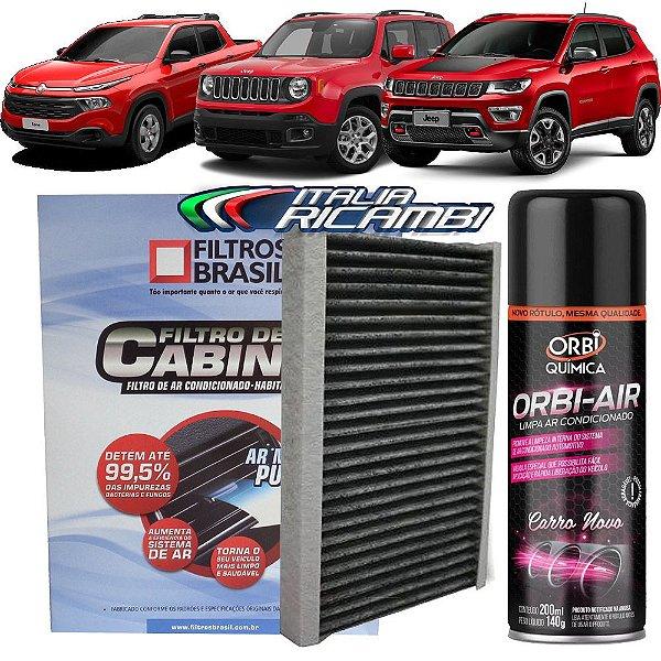 Kit Filtro De Cabine Carvão Ativado Filtros Brasil FBC1175 E Higienizador - Jeep Renegade Compass E Fiat Toro