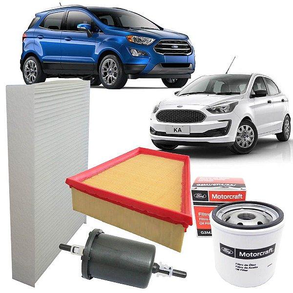 Kit filtros de ar óleo combustível e cabine - Ford Ecosport 1.5 12V e Ka 1.5 12V Dragon - 3 cilindros