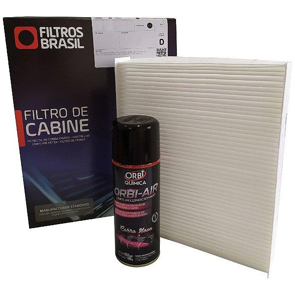 Kit filtro de cabine e higienizador de ar condicionado - Fiat Argo Cronos Novo Uno Palio Grand Siena 500 Strada Fiorino Mobi