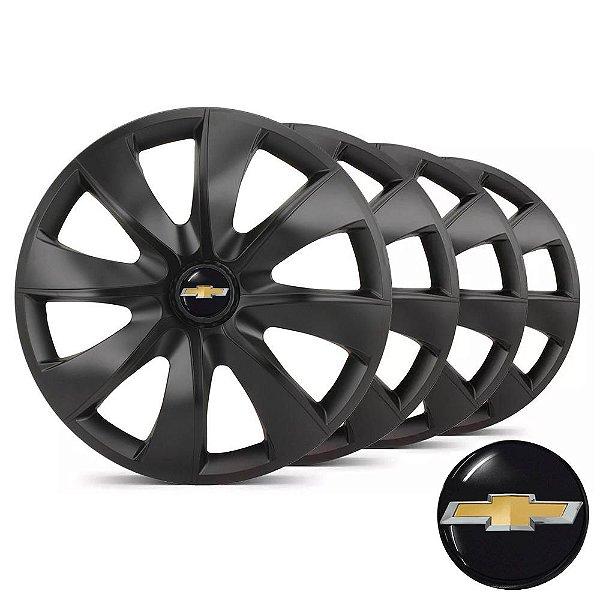 Jogo calotas esportivas Elitte Prime Fosc Black aro 14 emblema Chevrolet - Onix Corsa Classic Celta Prisma - LC233