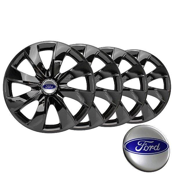 Jogo calotas esportivas Elitte Prime Black aro 14 emblema Ford - Courier Fiesta Ka Focus Ecosport Escort - LC232