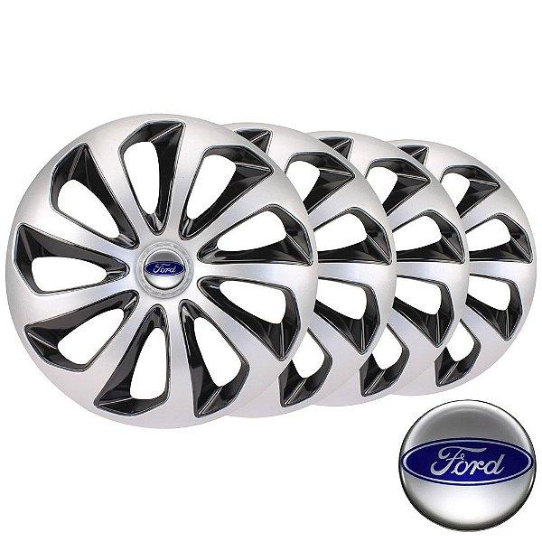 Jogo calotas esportivas Velox Silver Black aro 14 emblema Ford - Courier Fiesta Ka Focus Ecosport Escort - 4703