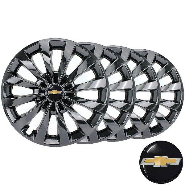 Jogo calotas esportivas Elitte Passat Cc Black aro 13 emblema Chevrolet - Corsa Celta Classic Prisma - LC102