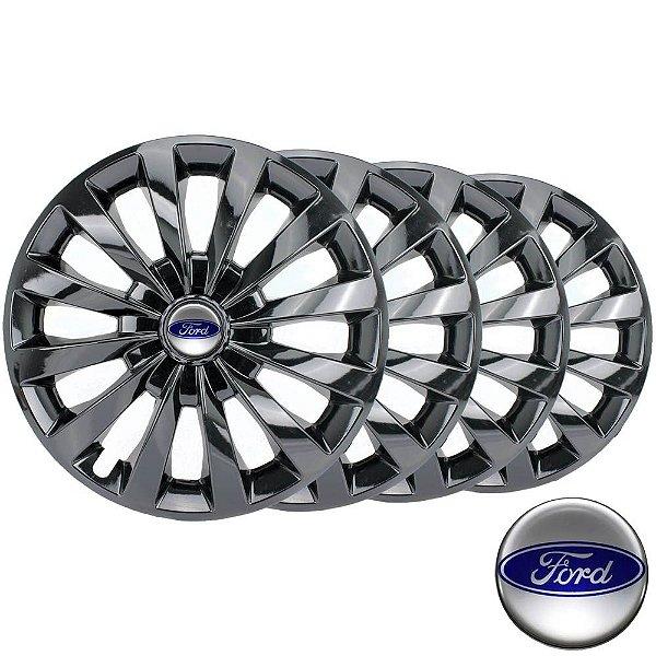 Jogo calotas esportivas Elitte Passat Cc Black aro 13 emblema Ford - Fiesta Ka Escort Courier Focus - LC102