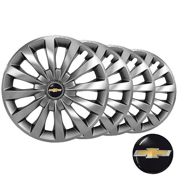 Jogo calotas esportivas Elitte Passat Cc Silver aro 13 emblema Chevrolet - Corsa Celta Classic Prisma - LC100