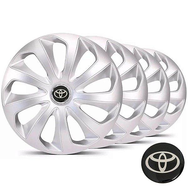Jogo calotas esportivas Elitte Velox Silver Prata aro 14 emblema Toyota - Etios Corolla - LC115
