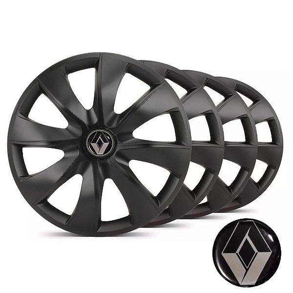 Jogo calotas esportivas Elitte Prime Fosco Black aro 14 emblema Renault - Clio Logan Sandero Symbol - LC233