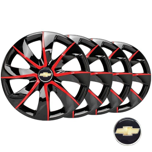 Jogo calotas esportivas Elitte Prime Black/Red aro 13 emblema Chevrolet - Corsa Celta Classic Prisma - 1005