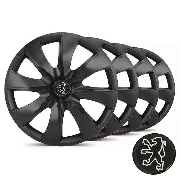 Jogo calotas esportivas Elitte Prime Fosco Black aro 14 emblema Peugeot - 206 207 208 307 - LC233