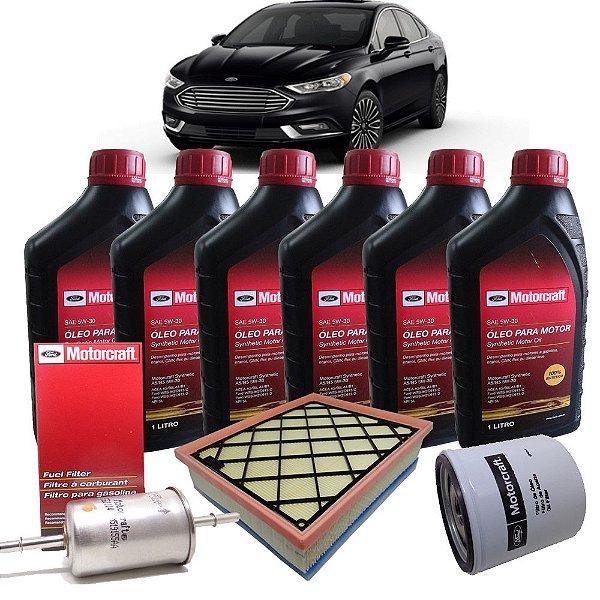 Kit Revisao 5w30 + Filtros Ar Oleo Combustivel Ford Motorcraft Ford Fusion 2.0 Ecoboost E 2.5 De 2012 Em Diante